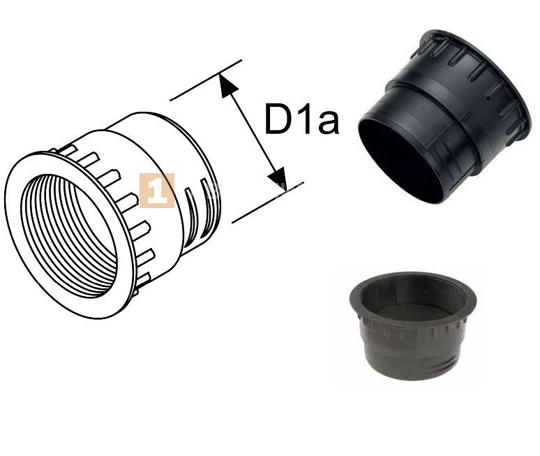 Муфта с внутренней резьбой из пластика D1a — 90 мм