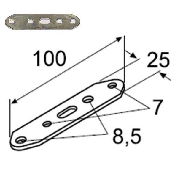 Пластина монтажная прямая стальная 100х28 упаковка 10 шт.